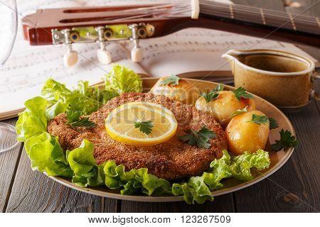 Wiener schnitzel with potatoes and salad selective focus.