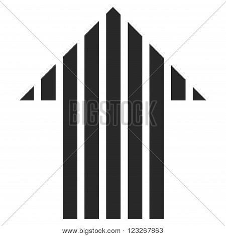 Stripe Arrow Up vector icon. Stripe Arrow Up icon symbol. Stripe Arrow Up icon image. Stripe Arrow Up icon picture. Stripe Arrow Up pictogram. Flat gray stripe arrow up icon.