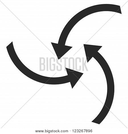 Swirl Arrows vector icon. Swirl Arrows icon symbol. Swirl Arrows icon image. Swirl Arrows icon picture. Swirl Arrows pictogram. Flat gray swirl arrows icon. Isolated swirl arrows icon graphic.