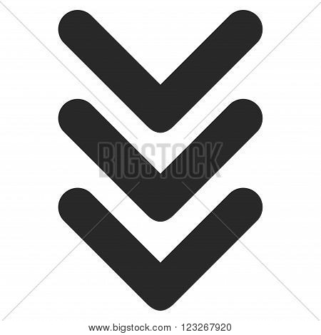 Triple Arrowhead Down vector icon. Triple Arrowhead Down icon symbol. Triple Arrowhead Down icon image. Triple Arrowhead Down icon picture. Triple Arrowhead Down pictogram.