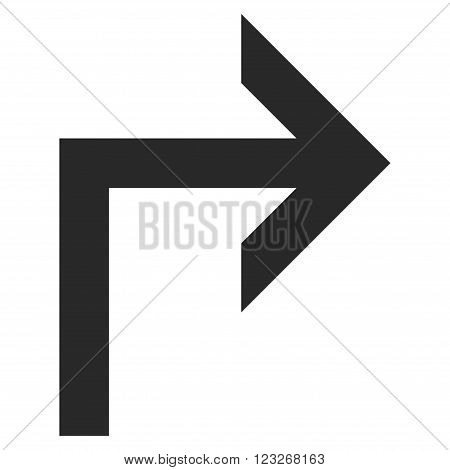Turn Right vector icon. Turn Right icon symbol. Turn Right icon image. Turn Right icon picture. Turn Right pictogram. Flat gray turn right icon. Isolated turn right icon graphic.