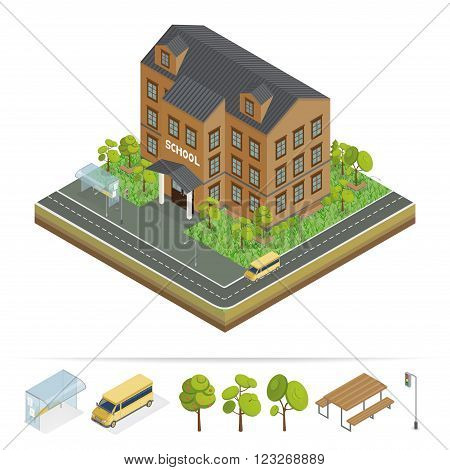 School Building. Modern School. Urban Scene. School Bus. School Facade. Isometric Building. Back to School. Vector illustration