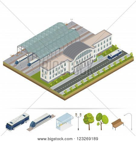 Railway Station. Railway Building. Railway Terminal. Isometric Building. City Train. City Bus. Building Facade. Train Station. Vector illustration