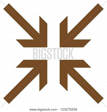 Collide Arrows vector icon. Style is flat icon symbol, brown color, white background.