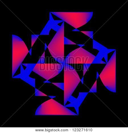 Graphic composition on a black background with gaudy colored graphic elements.