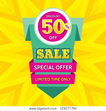 Sale abstract vector origami banner - special offer 50% off. Sale vector vertical banner. Super big sale design layout. Origami sale banner. Sale banner template.