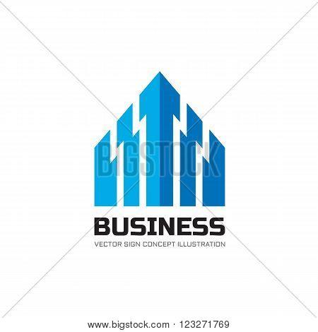 Business abstract arrow symbol - vector logo concept illustration. Real estate abstract logo. Arrows abstract symbol. Vector logo template. Design element.