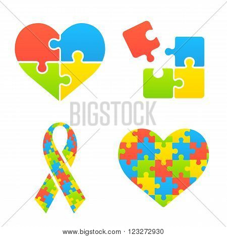 Autism awareness symbols set. Heart ribbon and puzzle pieces.