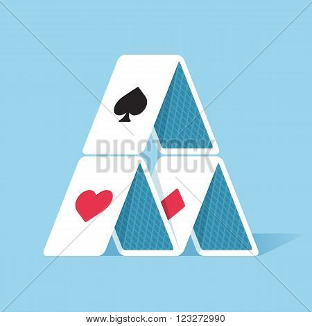 House of cards in simple flat style. Vector illustration.