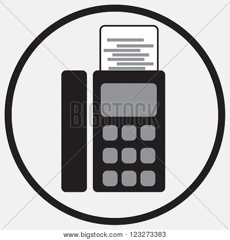 Fax device icon monochrome black white. Icon fax sign fax phone fax communication fax machine fax telephone office. Vector abstract flat design illustration