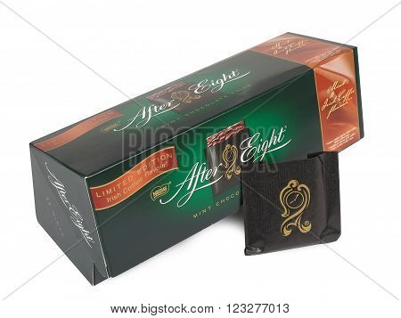 PULA, CROATIA - MARCH, 15 2016: Box of Nestle's After Eight mint chocolate thins on white background. Established in 1962 After Eight is recognized as the leading mint chocolate brand.