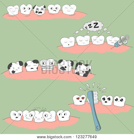 cute cartoon tooth expression set, great for your design