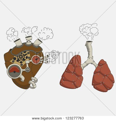 steampunk heart and lungs in cartoon style