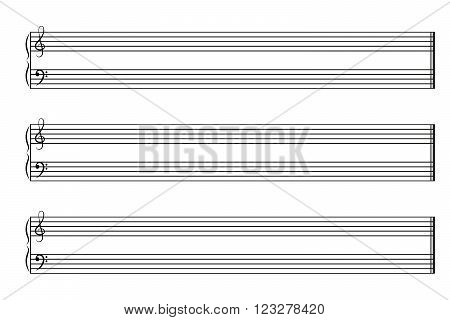 Music notebook horizontal with three staves. Vector EPS 10