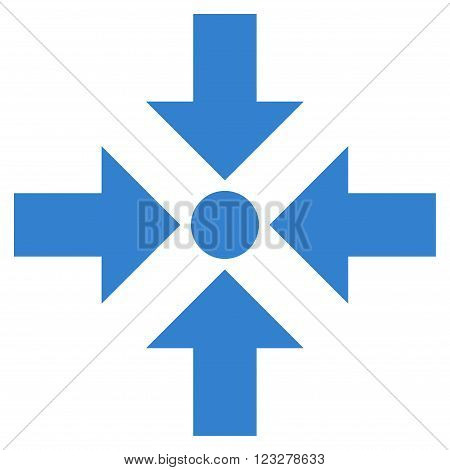 Shrink Arrows vector icon. Style is flat icon symbol, cobalt color, white background.