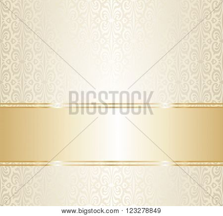 Wedding gold repetitive pattern design blank space for text