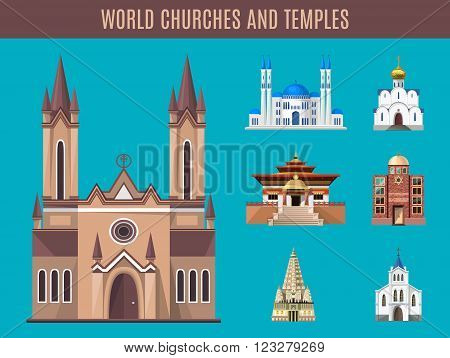 Cathedrals, churches and mosques vector building set. Collection of temple building architecture. Religious spiritual ritual activities prayer sacrifice. Islam, buddhist, hindu and christian religion.