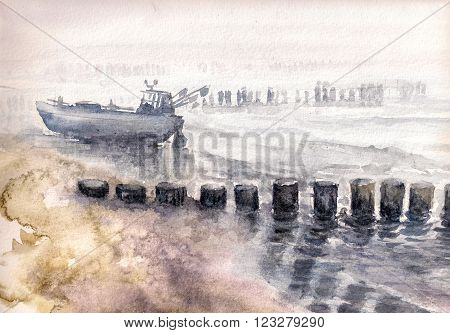 Fishing boat moored during fog. Picture created with watercolors
