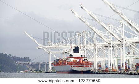 Cargo Ship Allise P Loading At The Port Of Oakland