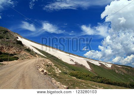 Road to the top of Rocky Mountain National Park in Estes Park Colorado USA