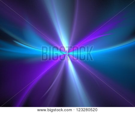 Abstract black background with purple, turquoise and blue color flower or burst of rays in the center texture, fractal