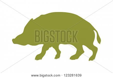 Wild boar animal flat vector silhouette and wild animal symbol. Animal silhouette. Wild life animals silhouette. Vector silhouette wild animal zoo vector.