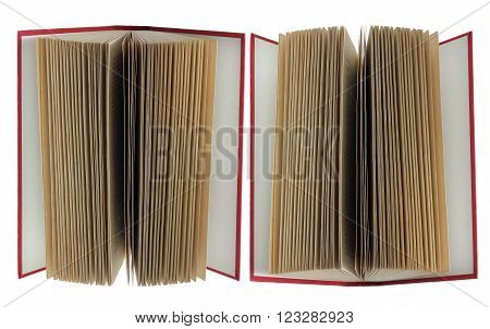 Open Hard Cover Book on White Background