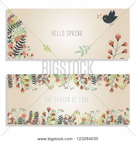 Two spring banners with hand drawn plants flowers and bird