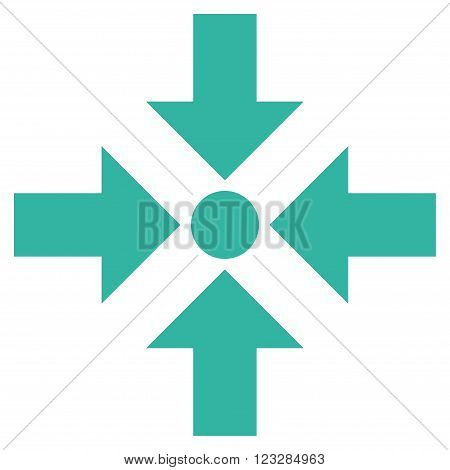 Shrink Arrows vector icon. Style is flat icon symbol, cyan color, white background.