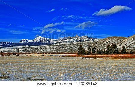 Sublette Peak in the Absaroka Mountain Range on Togwotee Pass between Dubois and Jackson Hole Wyoming USA