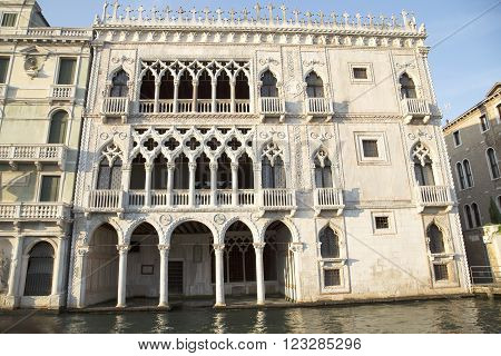 Facade of Ca D'Oro palace in Venice ( Palazzo Santa Sofia known as Golden House) Italy poster