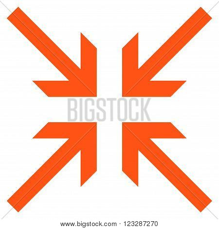 Collide Arrows vector icon. Style is flat icon symbol, orange color, white background.