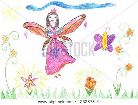 Child drawing fairy. Cute fairy flying on a flower