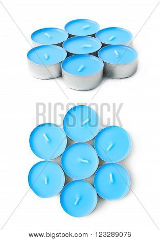 Pile of tealight paraffin wax blue candles isolated over the white background, set of two different foreshortenings poster