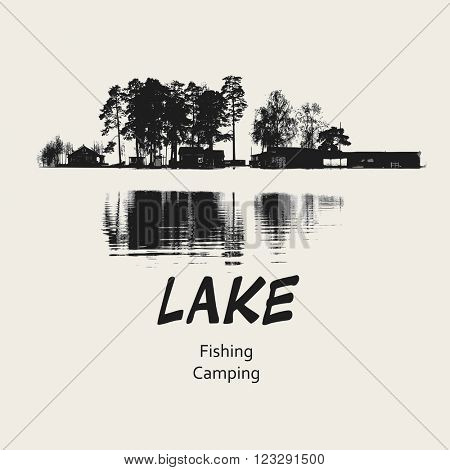 Lake fishing camping design placard, vector illustration
