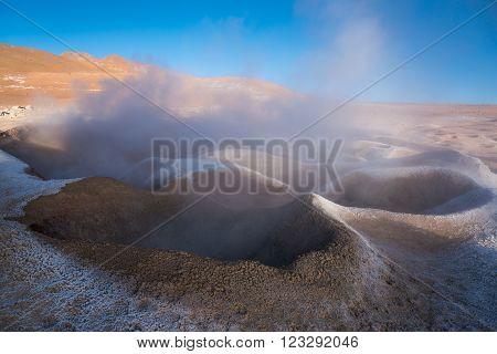 Fumaroles geothermal area. Active planet. Altiplano Bolivia South America