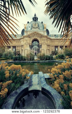 PARIS, FRANCE - MAY 13: Petit Palais museum exterior view on May 13, 2015 in Paris. With the population of 2M, Paris is the capital and most-populous city of France