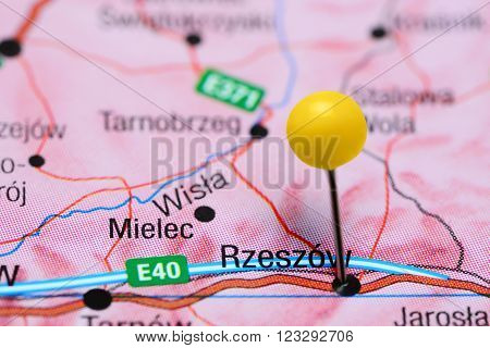 Photo of pinned Rzeszow on a map of Poland. May be used as illustration for traveling theme.