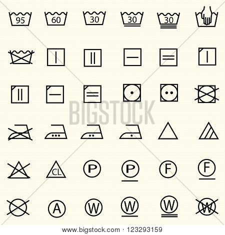 Set of textile care sign laundry care icons thin line design vector
