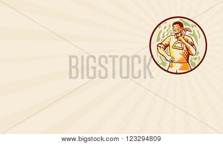Business card showing illustration of male gardener landscaper horticulturist holding shovel spade on shoulder with hand on hips looking to the side set inside circle done in cartoon style.