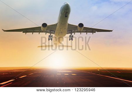 passenger plane taking over airport runway use for air transport and traveling theme