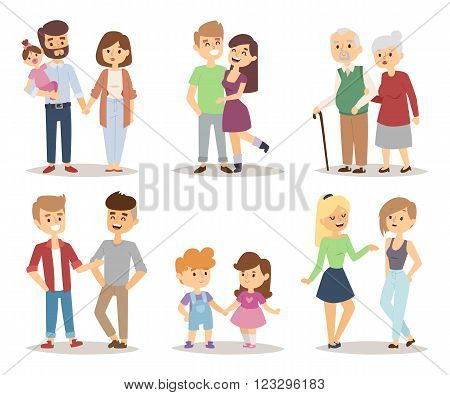 People happy couple cartoon and relationship people lifestyle couple cartoon vector. People couple relaxed cartoon vector illustration set.