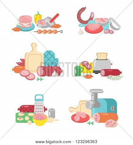Meat products ingredient preparation and meat products rustic elements preparation equipment. Meat products food preparation flat vector illustration icons.