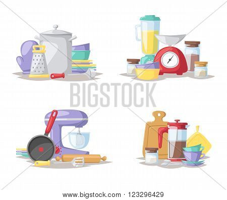 Kitchen food preparation tools and kitchen tools collection vector. Kitchen cook tools set flat vector illustration.