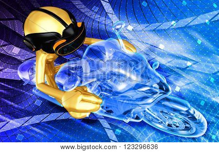 Virtual Reality VR Motor Cycle Racing 3D Illustration