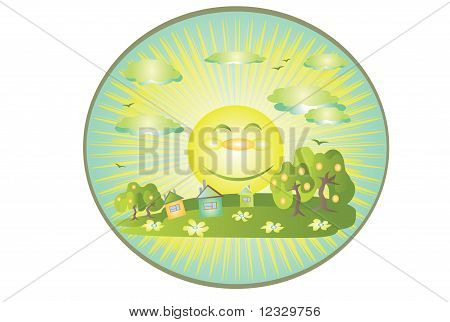 Green nature background,ecosystem with trees sun and clouds poster