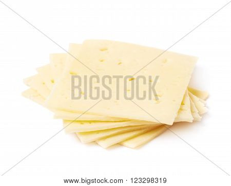 Twisted pile of cheese slices isolated over the white background