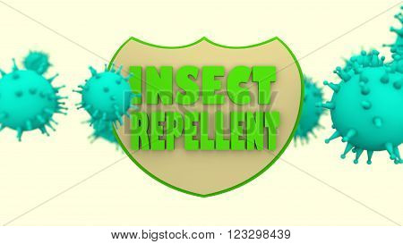 Stop mosquito transmitted viral disease shield. Insect repellent anti virus protection. Disease prevention