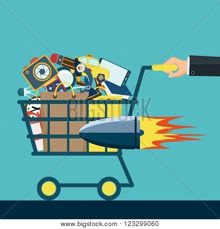 Shopping cart with purchases. Stock vector illustration.