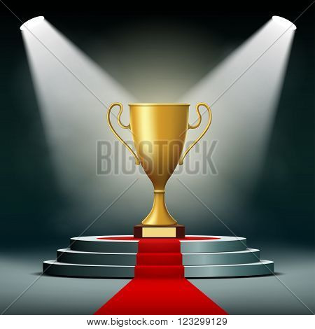 Gold Cup winner standing on a podium. Stock vector illustration.
